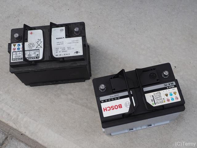 純正バッテリーとボッシュの互換バッテリーSLX-7C