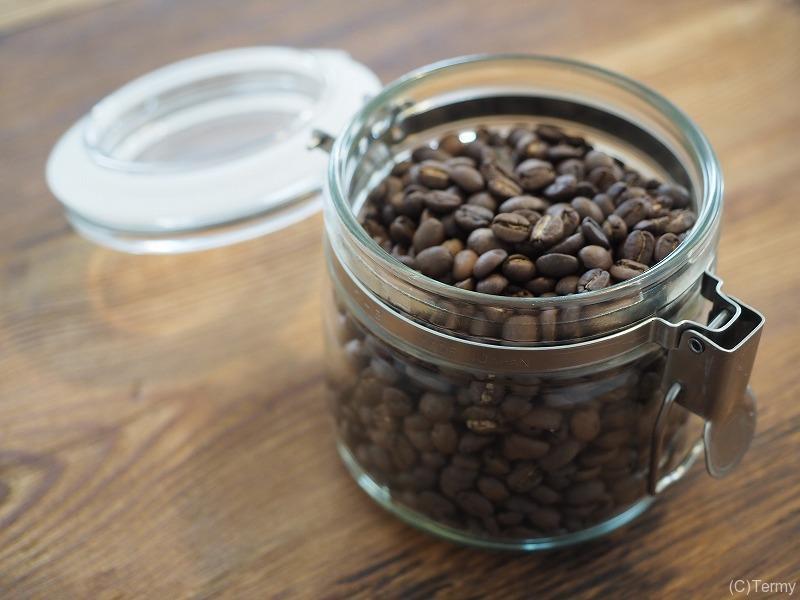 コーヒー豆の保存用ガラス容器